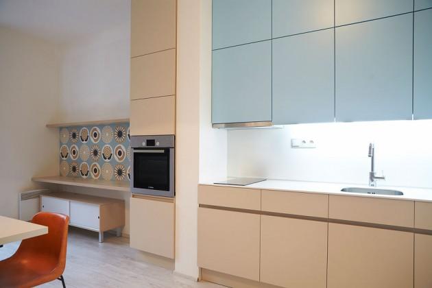 Modrobéžová kuchyň- Le Bon