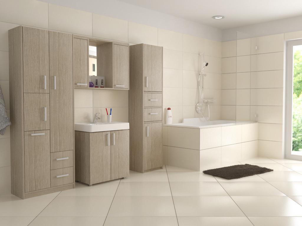 Svěětlý koupelnový nábytek