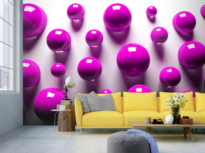 Tapeta 3D fialové koule